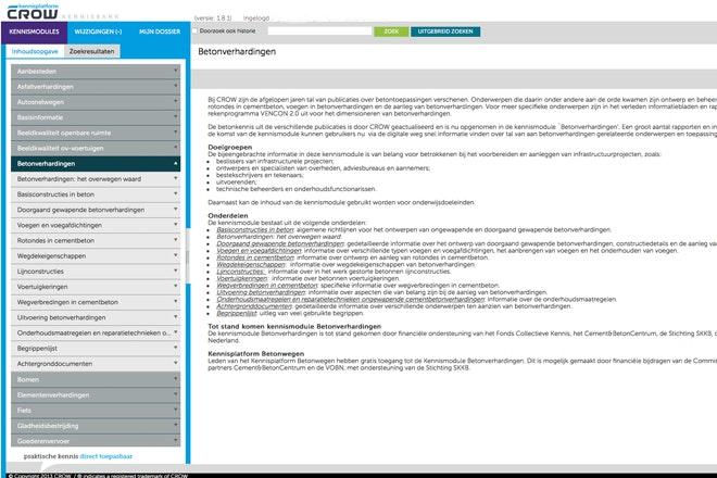 Toegangsportaal tot de CROW Online Kennismodule Betonverhardingen.